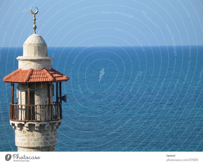 Minaret of the mosque in Alt-Jaffa Mosque Ocean Milkwort Israel Tel Aviv Horizon Islam House of worship muezzin Blue