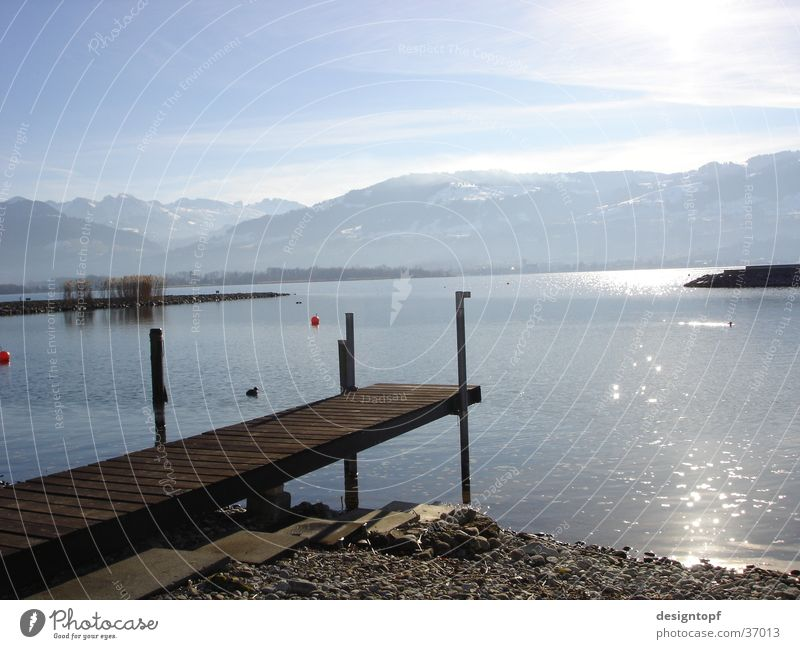 stony beach Lake Peace Sun Water Mountain