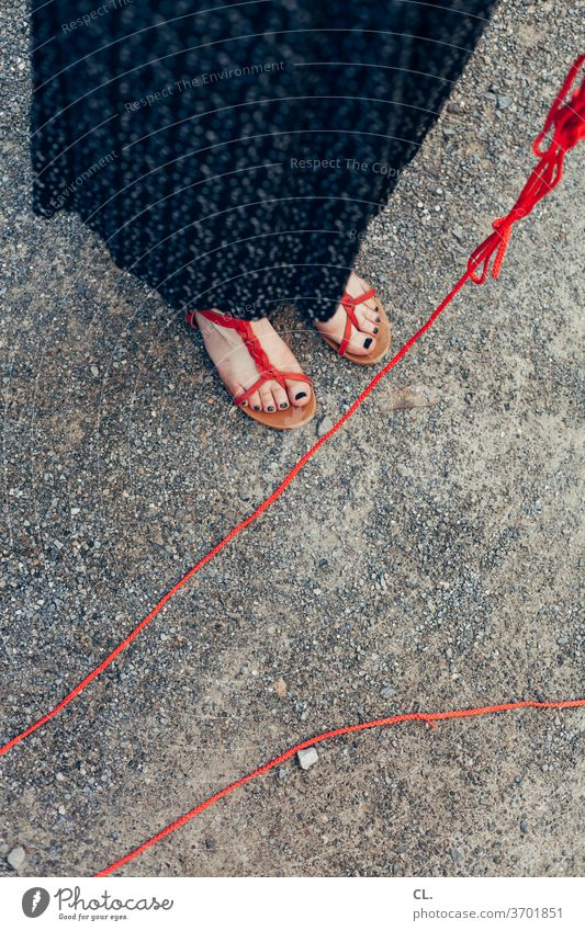 woman with red dog leash Woman Dog lead Red feet Skirt Footwear Summer Human being Stand Adults String Ground