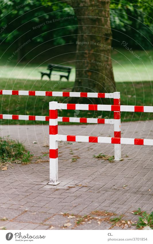 barrier and bank Barrier Bench Meadow Park Lanes & trails tree Calm Nature Deserted Exterior shot Colour photo