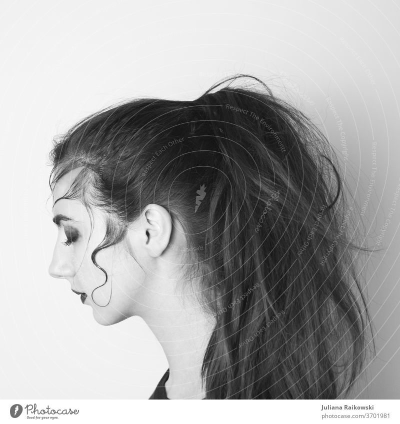 Woman with braid in black white portrait from the side Side Face Hair and hairstyles Looking Nose Mouth Head Black & white photo Silhouette Human being Feminine