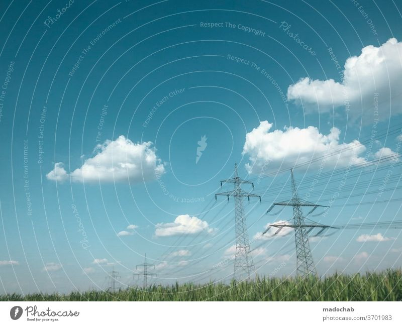 desktop stream Electricity pylon Energy Environment nstur Meadow Sky Clouds Energy industry electricity Technology High voltage power line Energy crisis Cable
