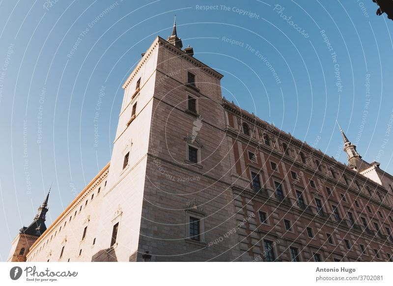 View of the Alcazar of Toledo from below spain spanish alcazar town castle european old panoramic tower heritage historic history palace scene pit destination