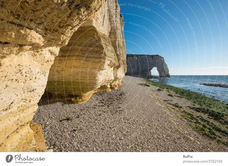 Bay near Etretat. Normandie canal coast steep coast Ocean rock Stone Sea State Beach beach Coast sea France North Sea ocean Sandy beach vacation