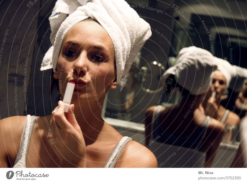 I just need five minutes and then we can go. Lipstick Mouth already Make-up Cosmetics bathroom Mirror Mirror image Reflection Feminine Face Skin Towel
