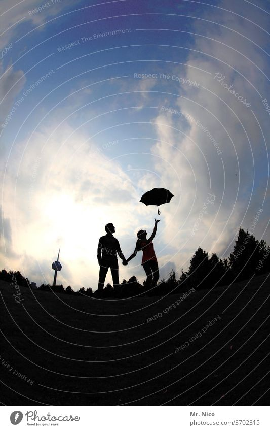 Mary Poppins & Bert Couple Umbrella Silhouette Sky Clouds Hold hands Television tower Departure Love Together Lovers luck Relationship Trust Harmonious Related