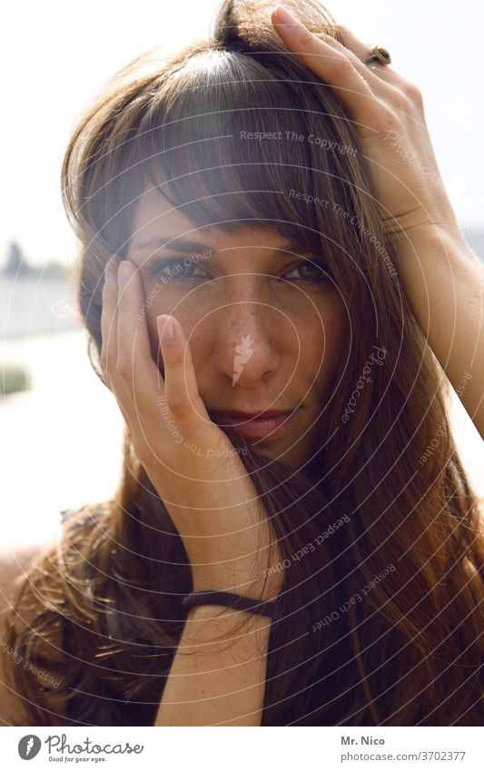 portrait Woman Face Eyes Hair and hairstyles already Head Nose Mouth Looking Lips Feminine Freckles Long-haired hands Skin Looking into the camera