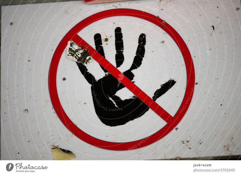 Please do not touch by hand Pictogram Prohibition sign Dirty Sign Signs and labeling Bans Signage crossed out Circle Symbols and metaphors Design without words