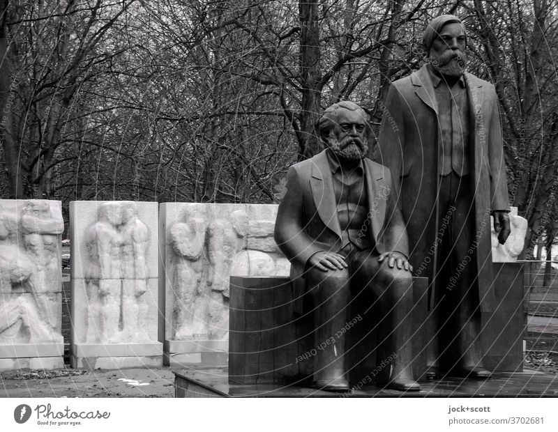 Monument to Marx and Engels Charles Marx Frederick Angel Statue Sculpture Philosophy GDR Communism Past bare trees Bronze commemoration Politics and state Art