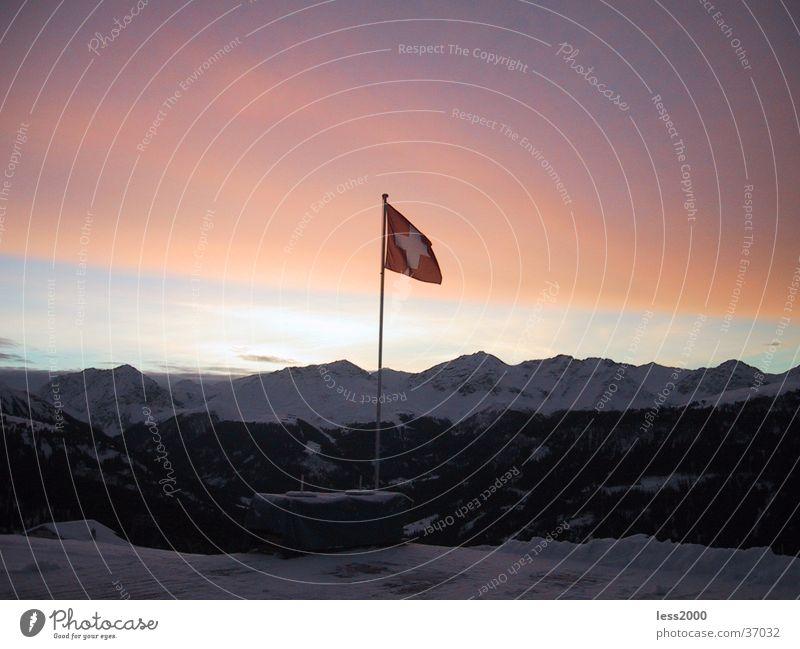 beautiful Switzerland Sunrise Morning Canton Graubünden Flag Back Dawn Mountain