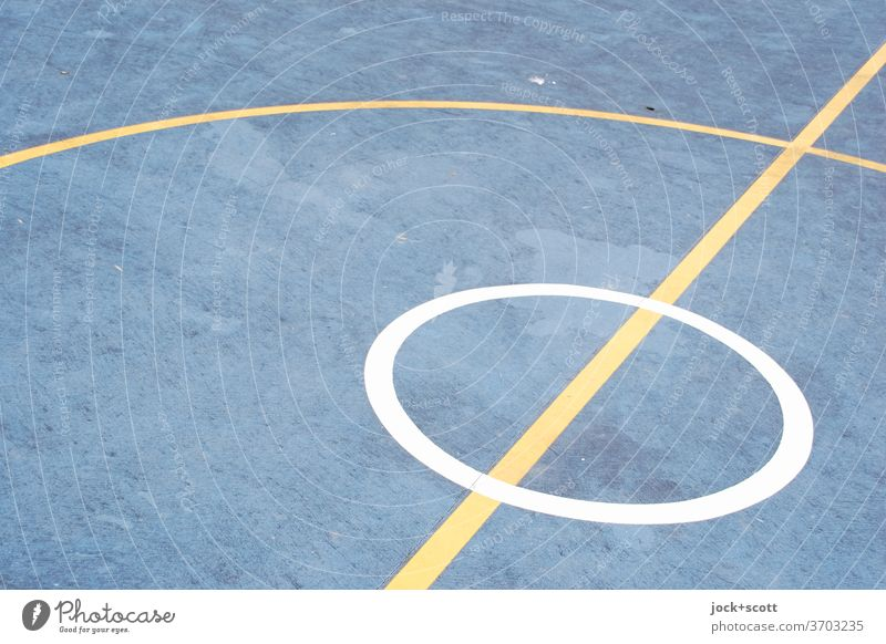 Playing field circle within a circle Basketball arena Under Floor covering Quality Structures and shapes Arrangement Circle Cross Sporting grounds