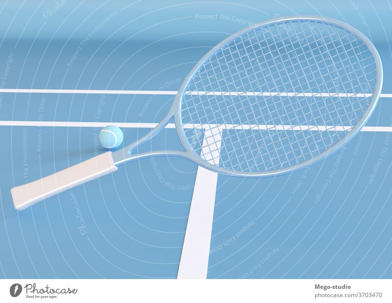 3D Illustration. Tennis Racket and ball. 3d game tennis racket render tennis court graphics shapes hobby template style 3d render background rendering symbol