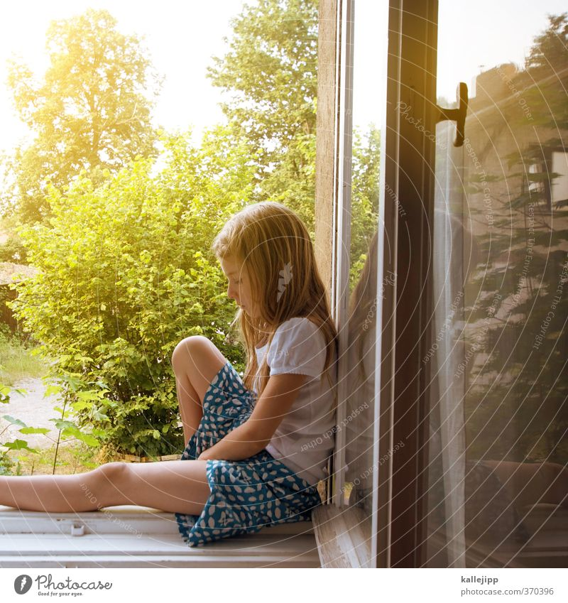 room with a view Human being Child Girl 1 8 - 13 years Infancy Window Playing Calm Window board Looking Garden View from a window Dress Rock music Summery
