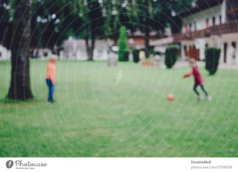 Two children play football on a meadow, photo is blurred soccer Sports Ball Playing Grass green Lawn Meadow Ball sports Leisure and hobbies Exterior shot