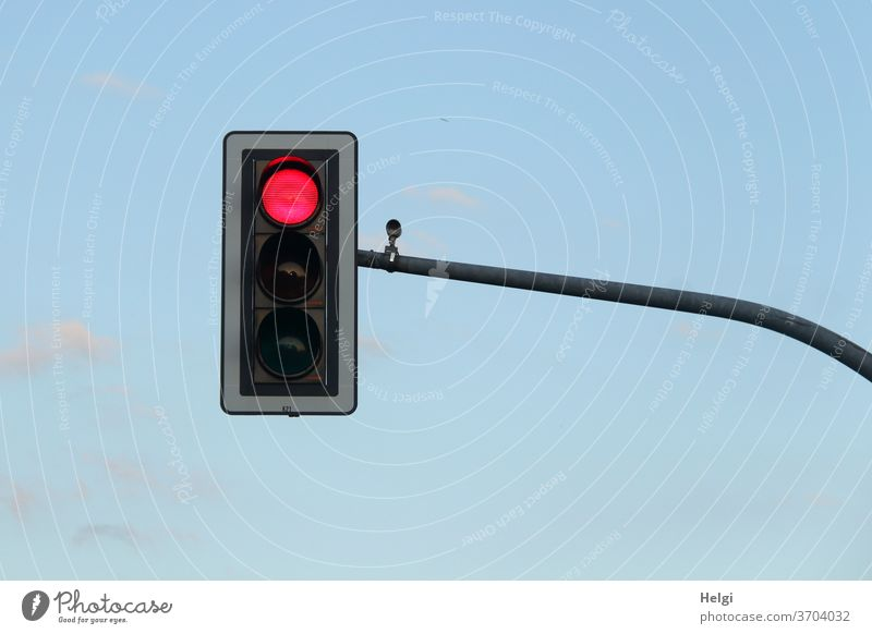 STOP - traffic light with red signal in front of blue sky Traffic light Light signal stop Red Wait Signal station Transport Stop Exterior shot Road traffic