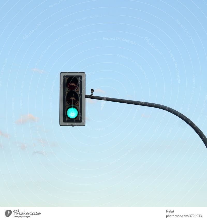 GREEN - traffic light with green signal in front of blue sky Traffic light light signals light sign system Transport Road traffic Traffic infrastructure