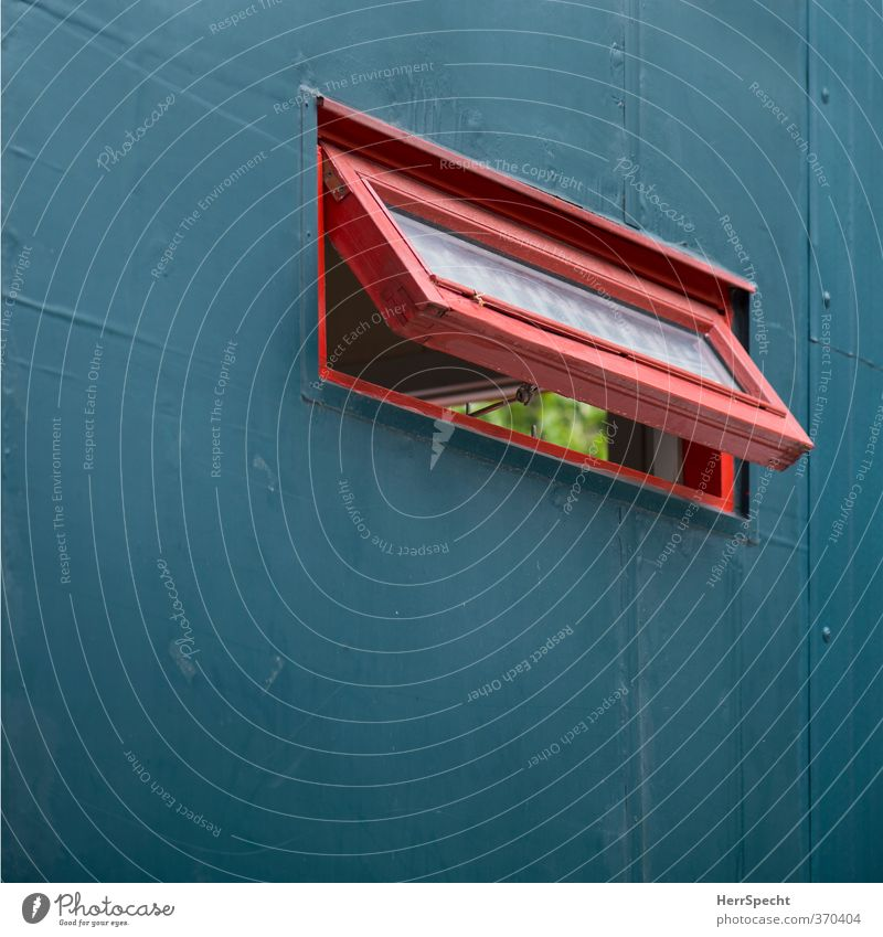 Red Window Wall (building) Wall (barrier) Berlin Wood Metal Open Glass Construction site Hut Turquoise Vista Insight Site trailer