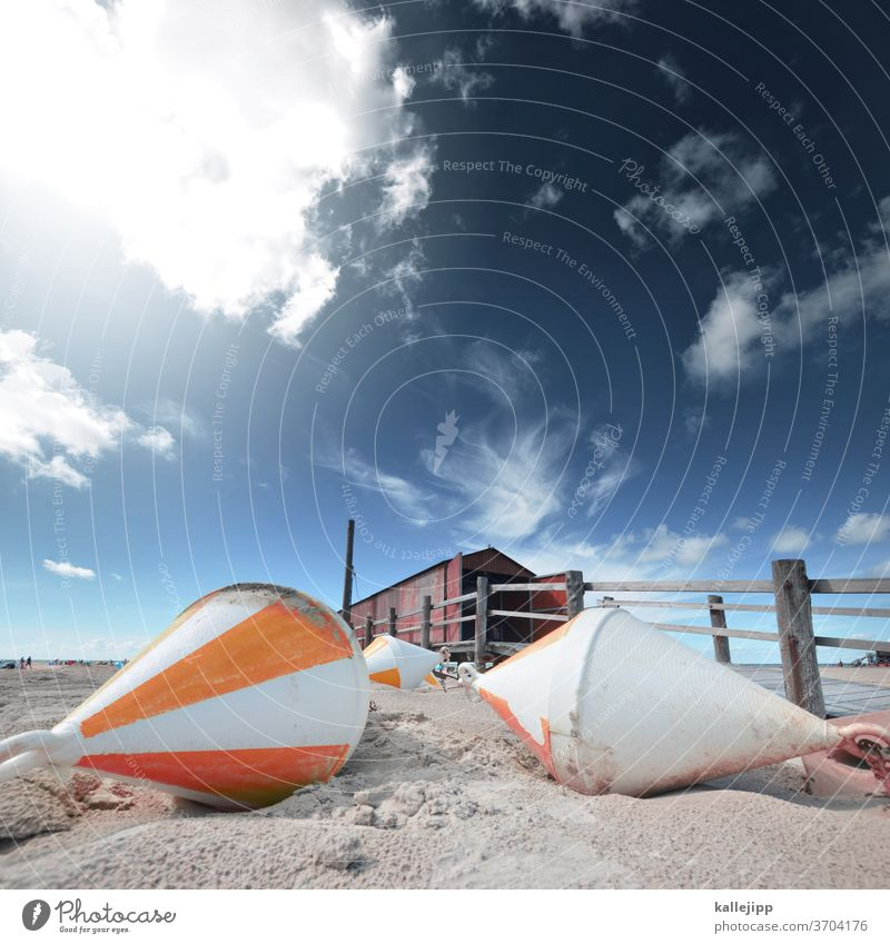 beach hut with buoys Beach St. Peter-Ording Summer Buoy Sand Perspective Wide angle Horizon Fence wood North Sea Schleswig-Holstein germany Coast Exterior shot
