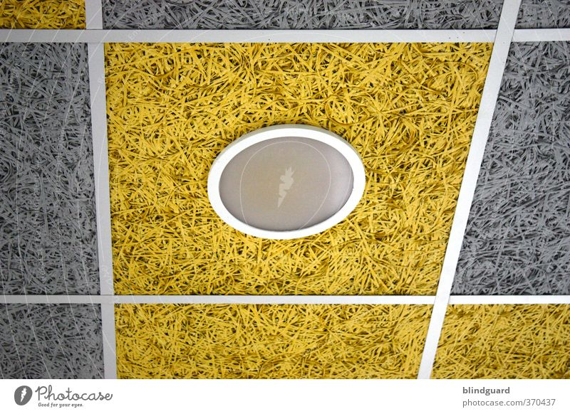 The round is in the square Lamp Stone Glass Metal Plastic Illuminate Gloomy Yellow Gray Black White Geometry Ceiling Ceiling light Colour photo Interior shot