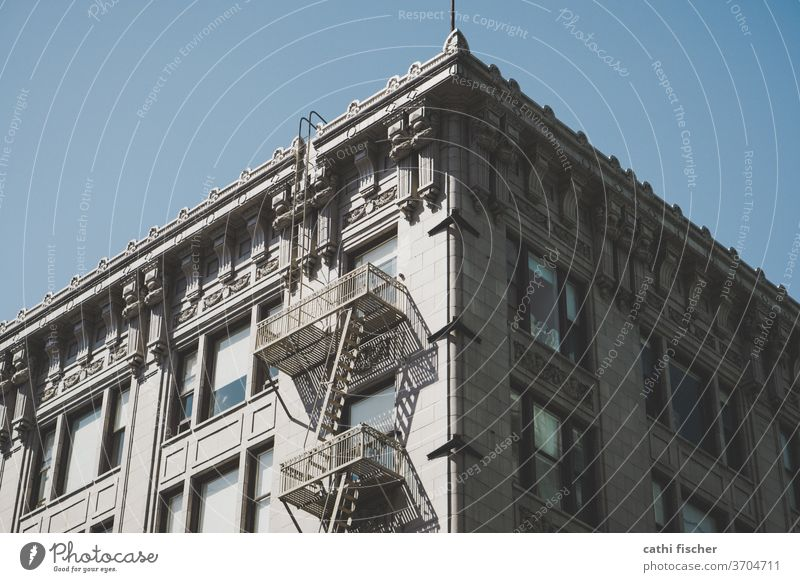 La Architecture Los Angeles downtown Americas Fire ladder Facade USA California Town Blue Downtown Deserted Exterior shot built City Window urban