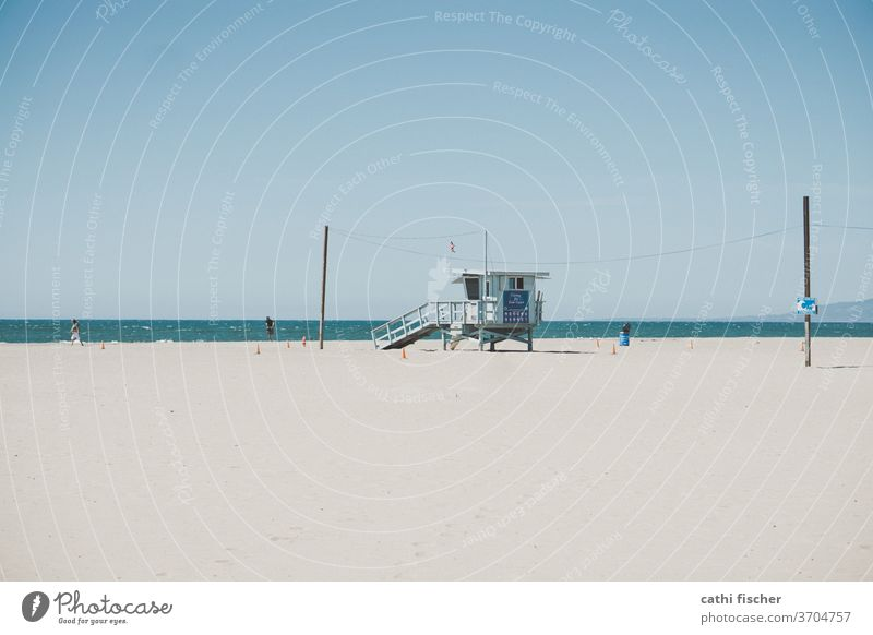 venice beach USA Americas Beach Ocean Lifeguard Baywatch lifeguard tower Blue Blue sky California Los Angeles Vacation & Travel Coast Pacific Ocean Summer Water