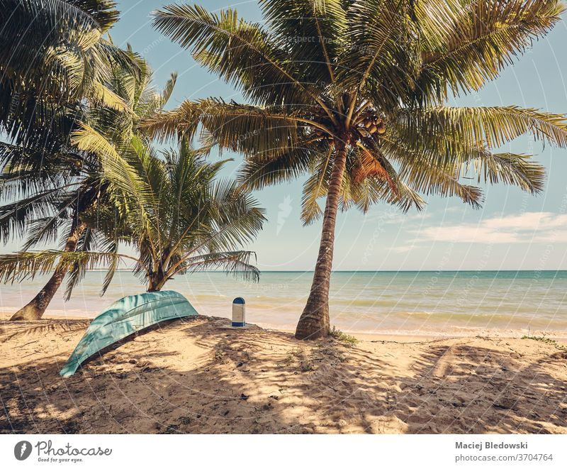 Tropical beach, retro color toned picture. boat fishing tropical getaway palm nature paradise sun summer vintage filtered exotic no people sea ocean sand