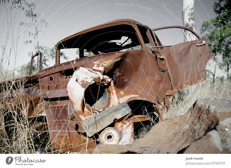 Wreck lost and rusty in the hinterland Wrecked car Transience Change Decline Nostalgia Apocalyptic sentiment Broken Rust Car Nature Loneliness Scrap metal End