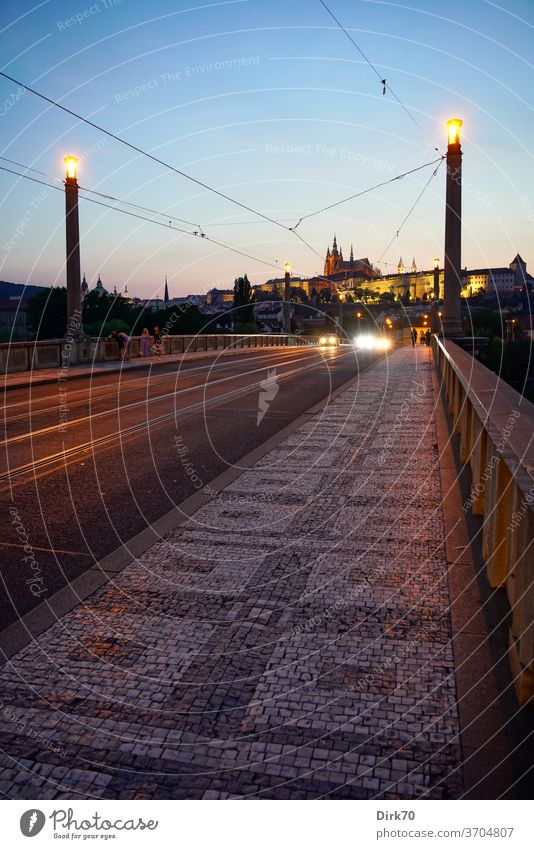 Manes Bridge with St. Vitus Cathedral and Prague Castle in the evening Hradcany Church Dome bridge Perspective vanishing point perspective Malá Strana