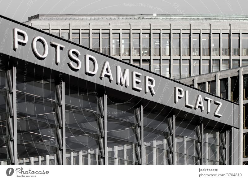 all over, Potsdamer Platz Train station Downtown Facade Modern Architecture Downtown Berlin Letters (alphabet) Capital letter Tourist Attraction New building