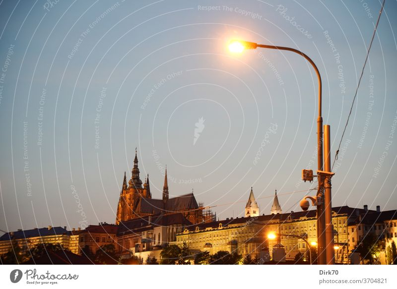 St Vitus Cathedral and Hradcany in the evening Prague Architecture Light Exterior shot Czech Republic City trip Deserted Capital city Vacation & Travel