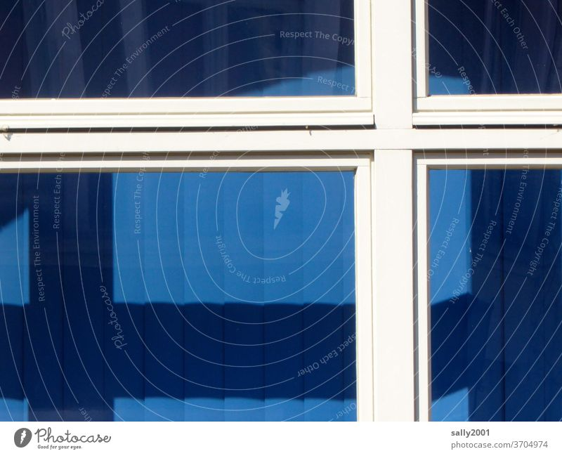 white on blue... Window Window frame Crucifix White Blue Venetian blinds House (Residential Structure) Closed too Slat blinds Shadow flag