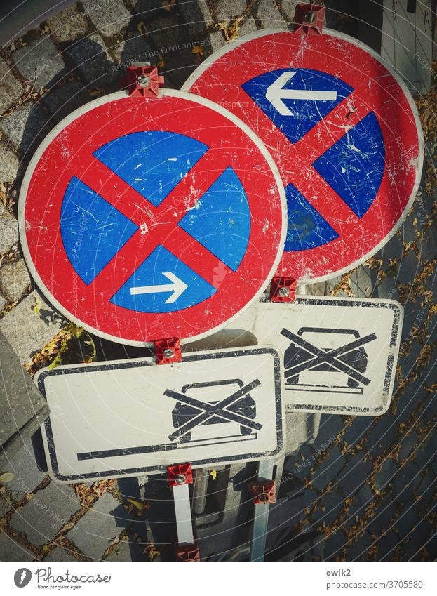 parking ban Signs Transport Road sign Collection Signs and labeling Signage Exterior shot Colour photo Deserted Day Street Traffic infrastructure Road traffic