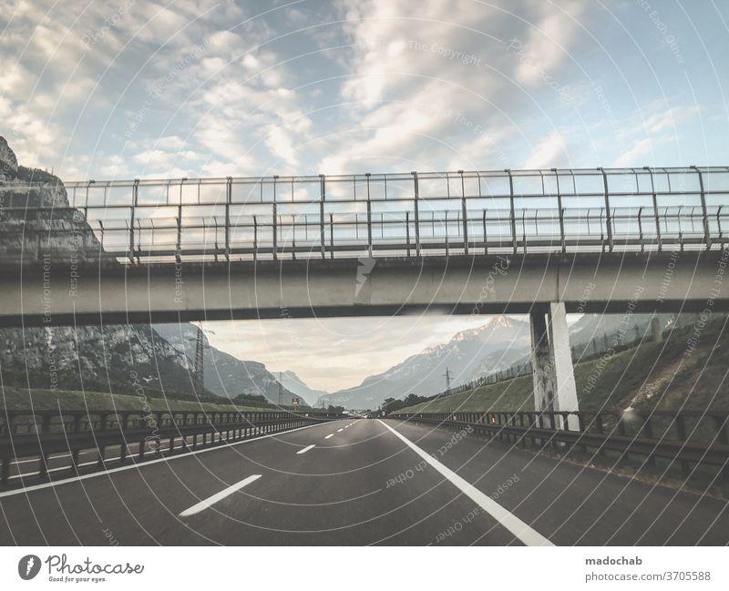 motorway bridge Street Highway mobile voyage Asphalt Transport off Landscape Car Speed Trip Vehicle Driving Means of transport Motoring Passenger traffic