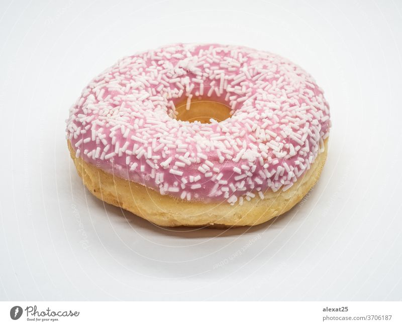 Pink donuts with white sprinkles isolated background bakery breakfast cake calories circle colorful delicious dessert dough doughnut eat fat food fresh frosting