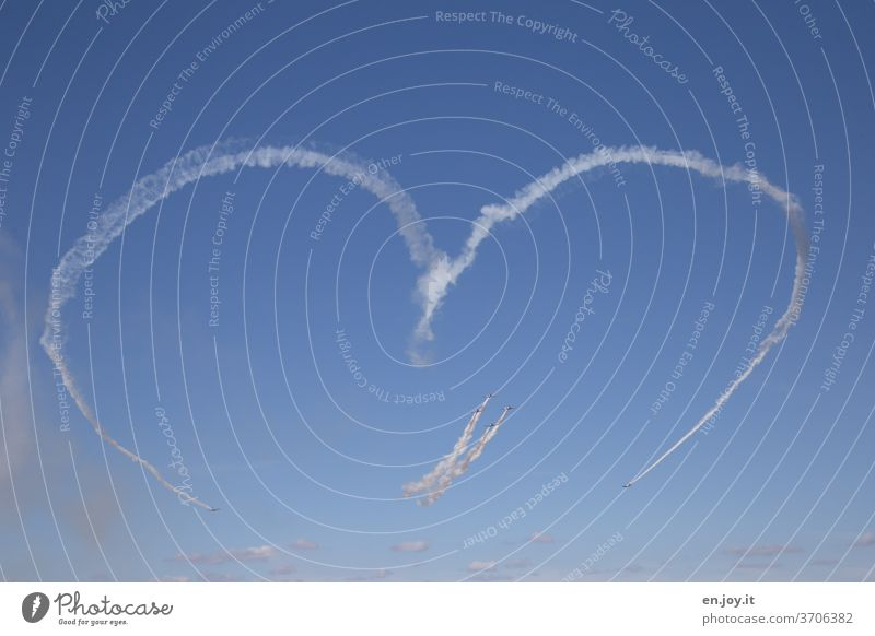 Love for all Heart Romance air show Aircraft Vapor trail Sky Blue Beautiful weather Aviation Flying Airplane Freedom Vacation & Travel Worm's-eye view