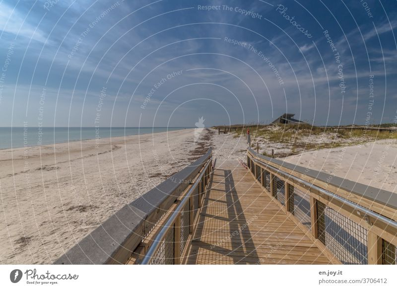 Quiet on the beach Beach Woodway boardwalk barrier-free Empty Sand Ocean Florida USA Americas North America vacation voyage tranquillity Wide angle Sky Horizon