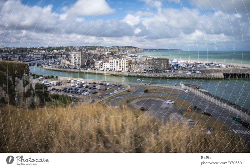 Miniature view of Dieppe on the French Channel coast. Normandie canal coast steep coast Ocean rock Stone Sea State Beach beach Coast sea France North Sea ocean