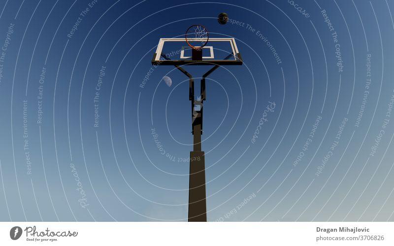 Play with us Basket basketball court Basketball basket Moon Playing Ball game jump sky endless Sports