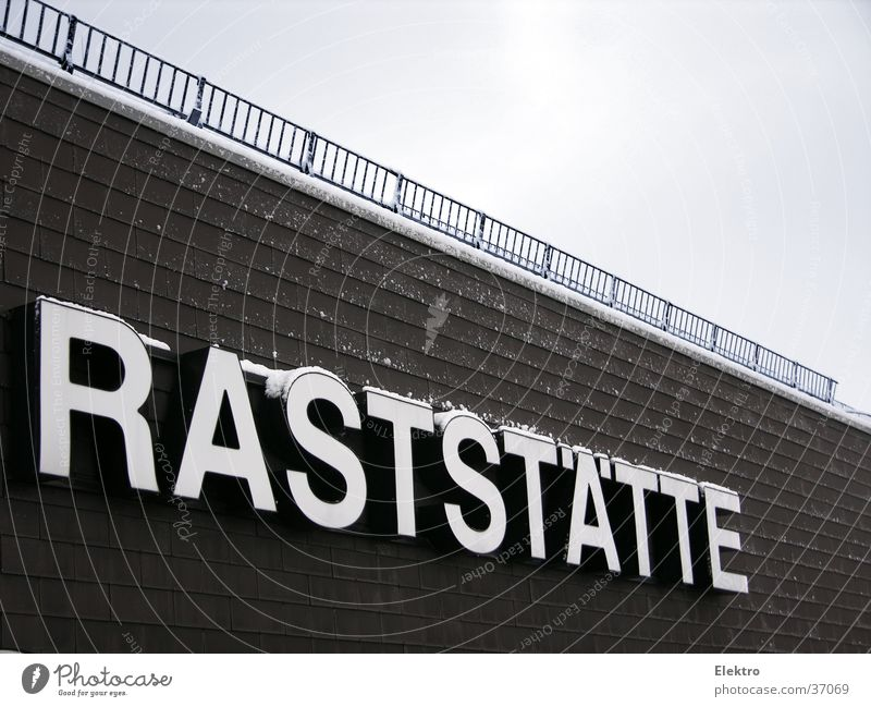 Take a break. Highway Rest Stop Parking lot Characters Break Restaurant Gastronomy Word Keyword Capital letter Illuminated letter Neon sign Deserted Clue