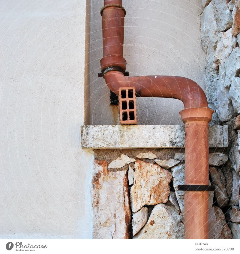 downpipe Wall (barrier) Wall (building) Facade Eaves Old Downspout Transmission lines Natural stone Curve Bend Diversion Attachment Mediterranean Majorca