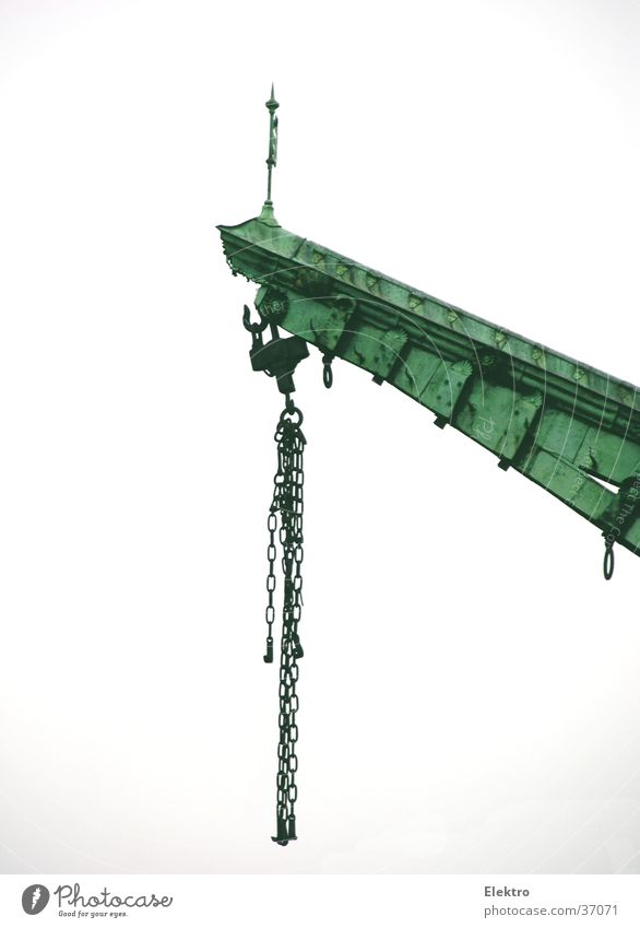 Crane on quay Cargo Lift Chain Rope Port Outrigger Berth Contentment Goods lift Jetty Logistics Historic lever-arm Arm causeway Weight