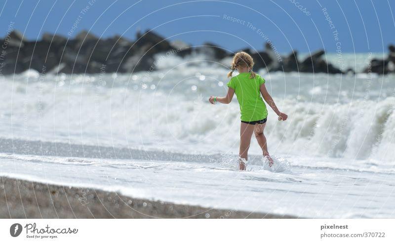 Human being Woman Child Vacation & Travel Green Summer Sun Ocean Relaxation Girl Joy Beach Coast Going Waves Blonde