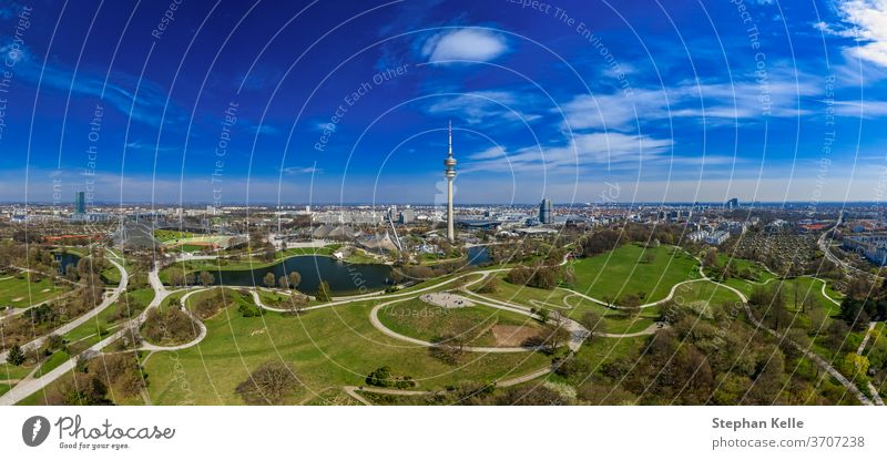 Popular view over the bavarian capital as a drone shot panorama at springtime, feel well and enjoy. munich aerial beauty blue sky impressive living popular