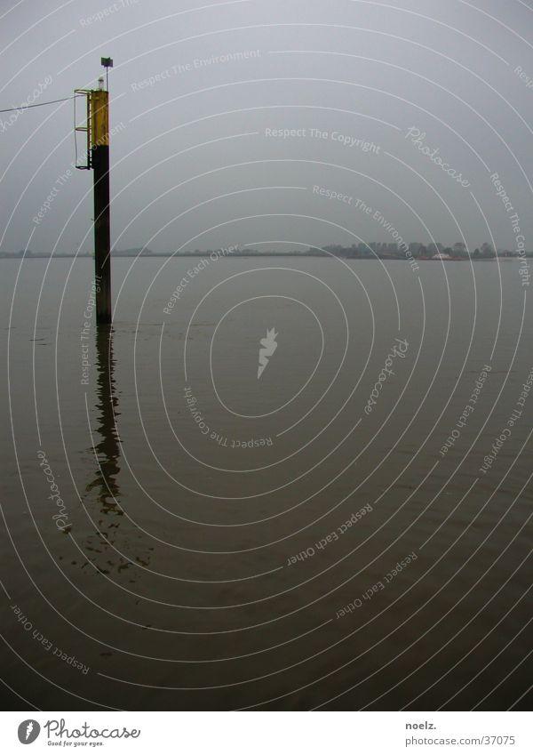 WATER | STAKE | HAZE Ocean Navigation Dreary Gray Fog Europe Water Pole