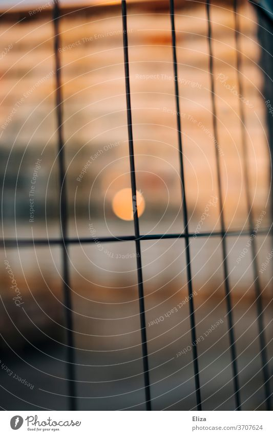 Light and warmth behind the fence Hoarding Construction site Fence Abstract cordon Safety Border Grating Apartment Building Warmth Metal Structures and shapes