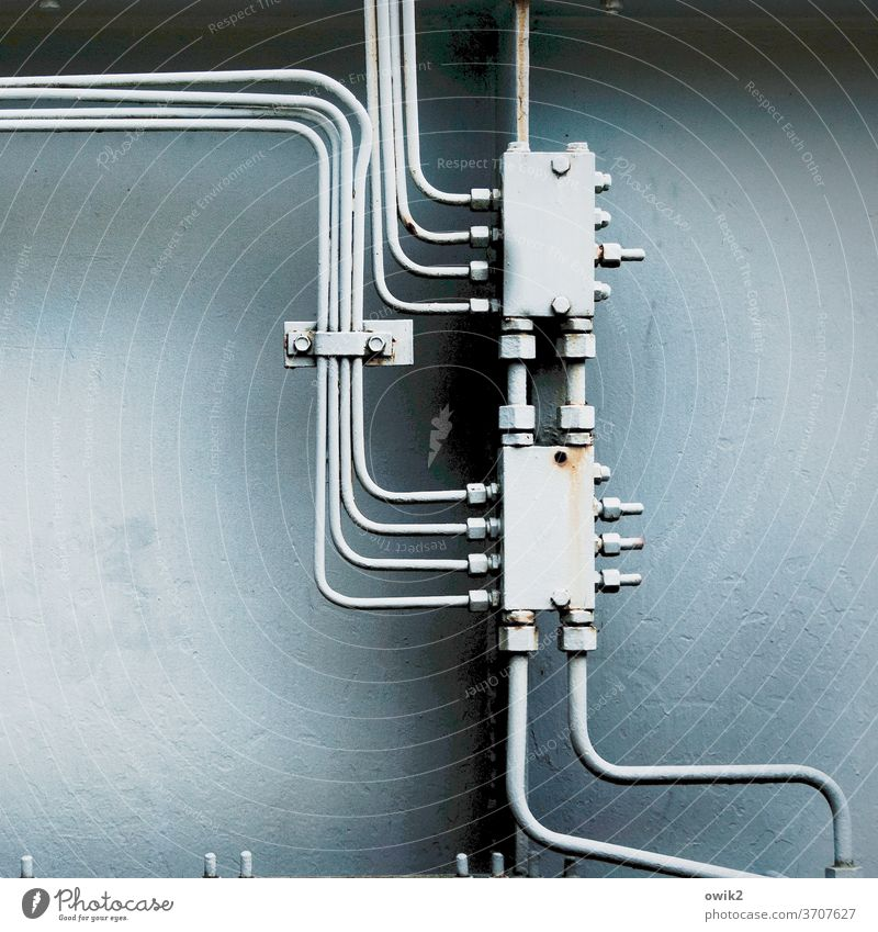 intertwined Technology Metal Contact Complex Colour photo Deserted Copy Space left Provision Function Working equipment Firm Old Connector Cable Energy industry