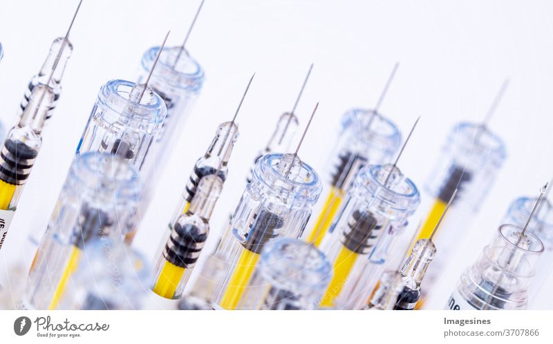 View of a number of different light-coloured syringes. Research, medicine, pharmacy and healthcare alternative treatment antibiotic background beauty treatment