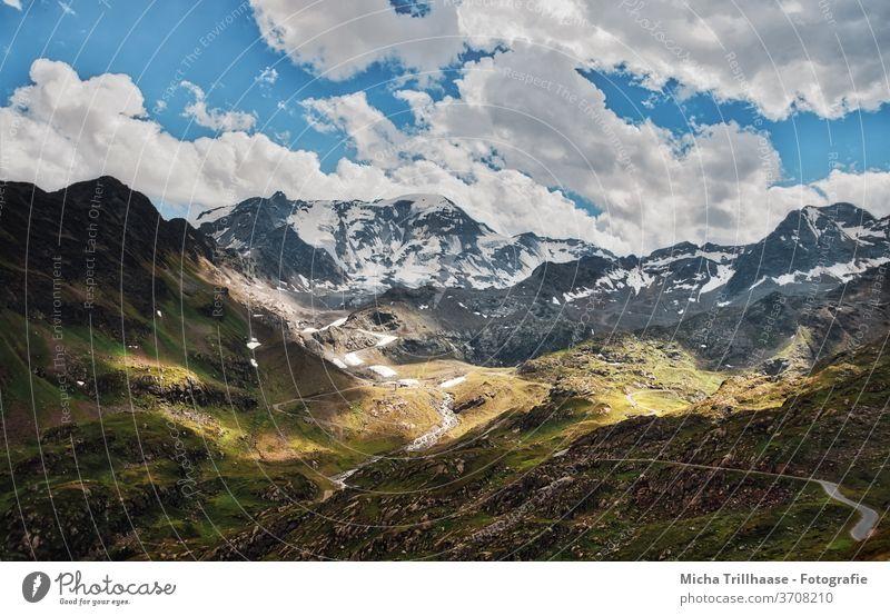 Kaunertal Glacier, Austria Glacier road Tyrol mountains Peak valleys rock Rock Landscape Nature huts meadows Sky Clouds Sun sunshine Street Winding road