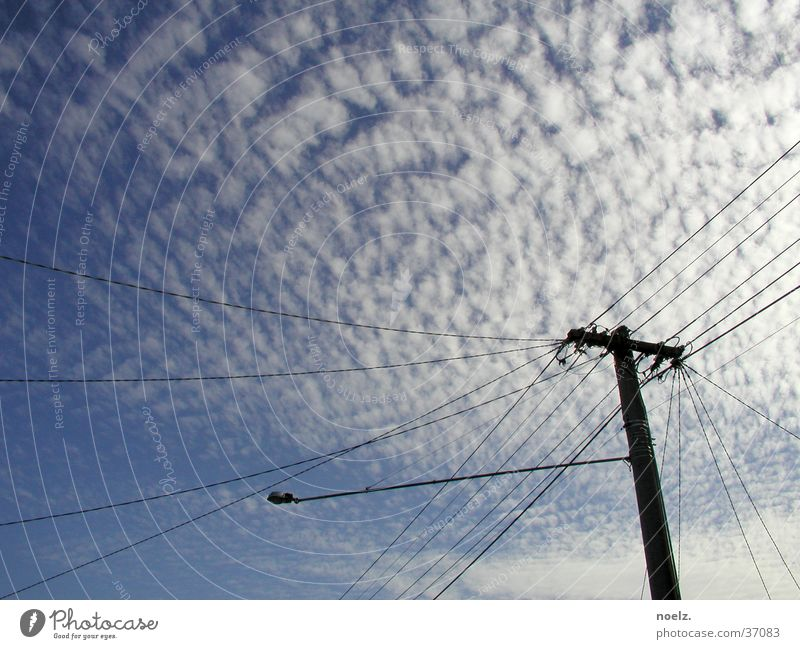 SKY POWER POLE Clouds Electricity pylon Australia Melbourne Sky cotton clouds Blue Cable