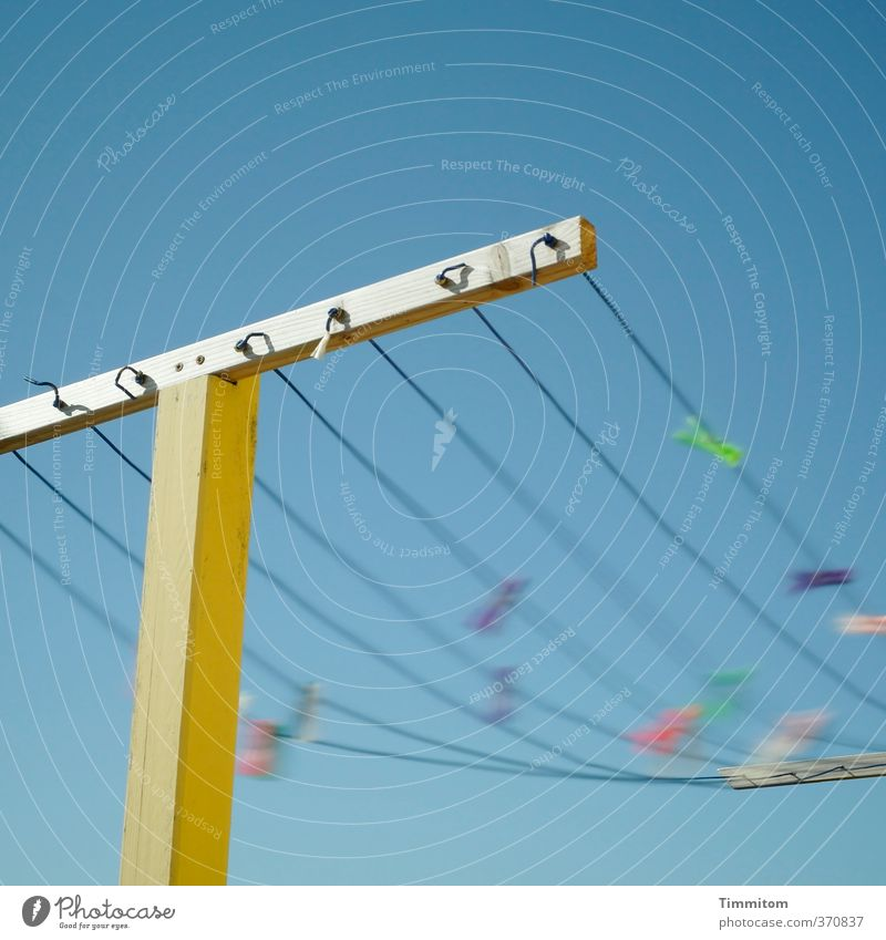 Wind chimes. Vacation & Travel Sky Cloudless sky Beautiful weather Denmark Clothesline Wood To swing Simple Happiness Blue Yellow Movement Agitated Clothes peg